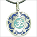 Amulet Ancient OM and Magic Lotus Tibetan Symbol Lapis Lazuli Turquoise Medallion Pendant on Leather Cord Necklace