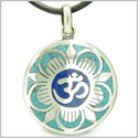 Amulet Ancient OM and Magic Lotus Tibetan Symbol Turquoise Lapis Lazuli Medallion Pendant on Leather Cord Necklace
