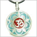 Amulet Ancient OM and Magic Lotus Tibetan Symbol Multicolor Turquoise Gemstone Medallion Pendant on Leather Cord Necklace