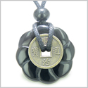 Antique Lucky Coin Celtic Lotus Flower Gemstone Amulet Spiritual Protection Powers Black Onyx 30mm Donut Pendant Necklace