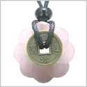 Antique Lucky Coin Celtic Lotus Flower Gemstone Amulet Love Powers Rose Quartz 30mm Donut Pendant Necklace