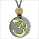 Ancient OM Tibetan Amulet Magic Powers Black Agate Coin Medallion Pendant Necklace