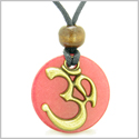 Ancient OM Tibetan Amulet Magic Powers Cherry Red Quartz Coin Medallion Pendant Necklace