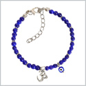 Evil Eye Protection OM Tibetan Spiritual Amulet Royal Blue Accents Magic Powers Lucky Charms Bracelet