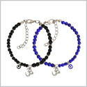 Evil Eye Protection Love Couples Amulets Set Royal Blue Black Accents OM Tibetan Spiritual Bracelets