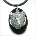 Amulet Protection and Wise Wolf Spiritual Powers Black Onyx Gemstone Charm Pendant on Leather Cord Necklace