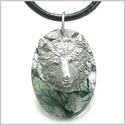 Amulet Protection and Wise Wolf Good Luck Powers Green Moss Agate Gemstone Charm Pendant on Leather Cord Necklace