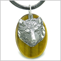 Amulet Protection and Wise Wolf Evil Eye Protection Powers Tiger Eye Gemstone Charm Pendant on Leather Cord Necklace