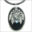 Howling Wolf Dreamcatcher Amulet Spiritual Protection Powers Black Onyx Gemstone Pendant on Leather Cord Necklace