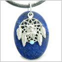 Howling Wolf Dreamcatcher Amulet Good Luck Powers Lapis Lazuli Gemstone Pendant on Leather Cord Necklace