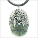 Howling Wolf Dreamcatcher Amulet Good Luck Powers Green Moss Agate Gemstone Pendant on Leather Cord Necklace