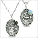 Amulets Love Couple or Best Friends Owl and Wild Woods Magic Moon Man Made Black Onyx Opalite Necklaces