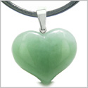 Amulet Large Puffy Heart Lucky Charm in Green Aventurine Gemstone Healing Powers Pendant on Leather Cord Necklace