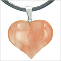 Amulet Large Puffy Heart Lucky Charm in Cherry Quartz Gemstone Healing Powers Pendant on Leather Cord Necklace