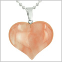 Amulet Large Puffy Heart Lucky Charm in Cherry Quartz Gemstone Good Luck Powers Pendant on Stainless Steel 18� Necklace