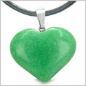 Amulet Large Puffy Heart Lucky Charm in Green Jade Gemstone Good Luck Powers Pendant on Leather Cord Necklace
