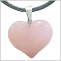 Amulet Large Puffy Heart Lucky Charm in Rose Quartz Gemstone Healing Powers Pendant on Leather Cord Necklace
