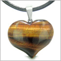 Amulet Large Puffy Heart Lucky Charm in Red Tiger Eye Gemstone Evil Eye Protection Powers Pendant on Leather Cord Necklace