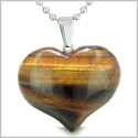 Amulet Large Puffy Heart Lucky Charm in Red Tiger Eye Gemstone Healing Powers Pendant Stainless Steel 18� Necklace