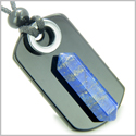 Exclamation Triple Lucky Amulet Crystal Point Tag Black Onyx, Hematite, Lapis Lazuli Gemstones Pendant Necklace
