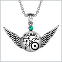 Magic Planetary Powers Archangel Michael Angel Wings Royal Green Crystal Amulet Pendant 18 inch Necklace