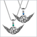 Archangel Michael Magic Planetary Amulets Set Angel Wings Royal Green and Blue Crystals Pendant Necklaces