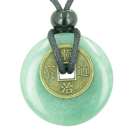 Best Amulets Antique Lucky Coin Money Powers Amulet Green Aventurine Gemstone 30mm Donut Pendant Necklace