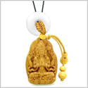 Blooming Lotus Kwan Yin Quan Car Charm or Home Decor White Quartz Lucky Donut Protection Powers Amulet
