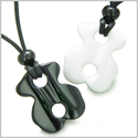 Lucky Infinity Couple or Friendship Set Ying Yang White Jade and Black Onyx Gemstones Magic Powers Necklaces