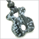Infinity Magic Powers Celtic Knot Lucky Charm Evil Eye Protection Amulet Snowflake Obsidian Gemstone Pendant Necklace