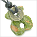 Infinity Magic Powers Celtic Knot Lucky Coin Spiritual Protection Amulet Unakite Gemstone Pendant Necklace