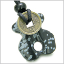 Infinity Magic Powers Celtic Knot Lucky Coin Evil Eye Protection Amulet Snowflake Obsidian Gemstone Pendant Necklace
