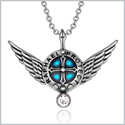 Archangel Raphael Angel Wings Protection Shield Magic Powers Charm White Crystal Pendant 22 inch Necklace