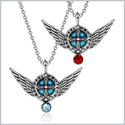 Angel Wings Archangel Raphael Love Couples or Best Friends Set Charms Sky Blue and Red Pendant Necklaces