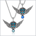 Angel Wings Archangel Raphael Love Couples or Best Friends Set Sky Blue and Royal Blue Pendant Necklaces