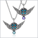 Angel Wings Archangel Raphael Love Couples or Best Friends Set Sky Blue and Purple Pendant Necklaces