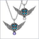 Angel Wings Archangel Raphael Love Couples or Best Friends Set Charms White and Purple Pendant Necklaces