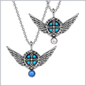 Angel Wings Archangel Raphael Love Couples or Best Friends Set Charms White Royal Blue Pendant Necklaces