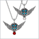 Angel Wings Archangel Raphael Love Couples or Best Friends Set Charms White Cherry Red Pendant Necklaces
