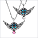 Angel Wings Archangel Raphael Love Couples or Best Friends Set Charms White and Pink Pendant Necklaces