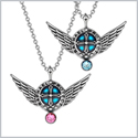 Angel Wings Archangel Raphael Love Couples or Best Friends Set Charms Sky Blue and Pink Pendant Necklaces
