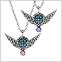 Angel Wings Archangel Raphael Love Couples or Best Friends Set Charms Purple and Pink Pendant Necklaces