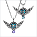 Angel Wings Archangel Raphael Love Couples or Best Friends Set Charms Purple Sky Blue Pendant Necklaces