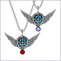 Angel Wings Archangel Raphael Love Couples or Best Friends Set Charms Purple Cherry Red Pendant Necklaces