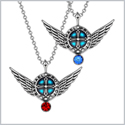 Angel Wings Archangel Raphael Love Couples or Best Friends Set Charms Royal Blue Red Pendant Necklaces