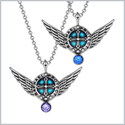 Angel Wings Archangel Raphael Love Couples or Best Friends Set Charms Royal Blue Purple Pendant Necklaces