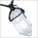 Amulet Brazilian Large Rough Rock Quartz Healing Powers Crystal Point Wand Gemstone Charm Pendant Necklace