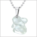 Amulet Lucky Rabbit Totem Crystal Rock Quartz Gemstone Protection Powers Pendant 18 Inch Necklace