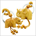 Amulet Baby Elephant and Rhino Good Luck Charm Protection Powers Feng Shui Magic Keychain Set Blessings