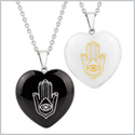 Heart Amulets Hamsa Hand Magical Symbol Love or Couples Best Friends Set Agate White Quartz Necklaces